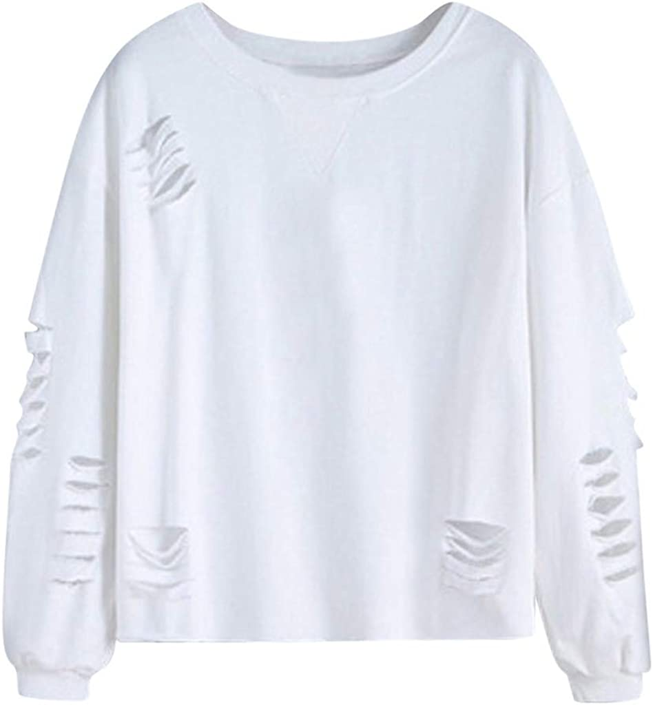 Cash special price Women's Solid Color Long Sleeve Crew Cut Fit Swe Out Luxury goods Neck Casual