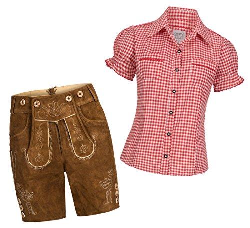 Gaudi-Leathers Conjunto de pantalones cortos de piel para mujer, color marrón claro, con tirantes y blusa tradicional Mala a cuadros, varios colores, marca A cuadros rojos y blancos. 42