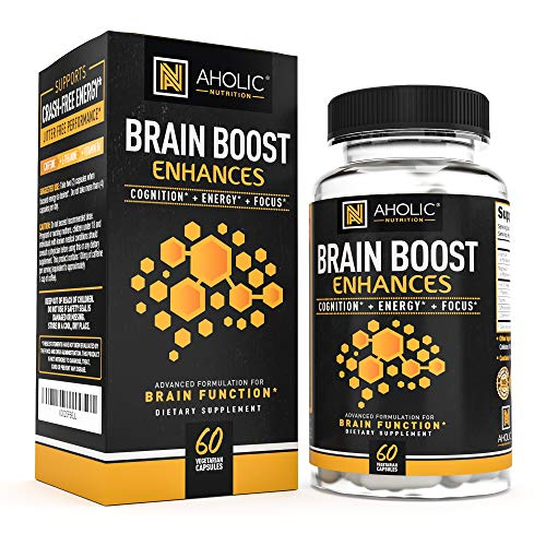 Energy Pills with Caffeine and L-Theanine for Energy and Focus, Alpha Brain Booster, Nootropic Stack, Vital Vitamins to Improve Alertness, Healthy Brain Supplement - Helps Stamina & Mood, PreWorkOut