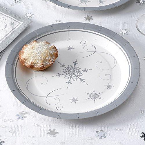 Premium Weddings Pappteller Weihnachten Schneekristall 8 Stück - Advent Teller Weihnachtsfeier Deko Pappteller Scheeflocke