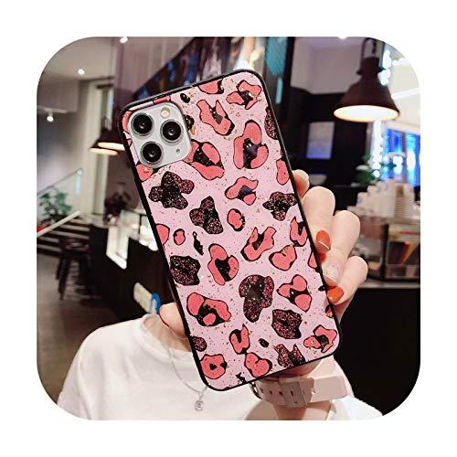 who-care Carcasa para iPhone 11 Pro Max X Xr Xs Max 6 6S 7 8 Plus Se 2020 con diseño de leopardo, color rosa