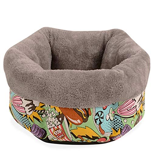 Cesta para Mascotas de Felpa 4 Colores Diferentes y 3 tamaños - Lavable y Resistente a los arañazos casa para los Perros y Gatos (Style 6, M)