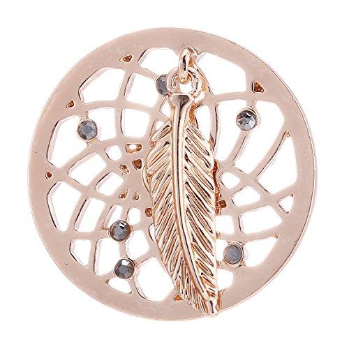Morella® Damen Coin Traumfänger mit Feder Rosegold 33 mm