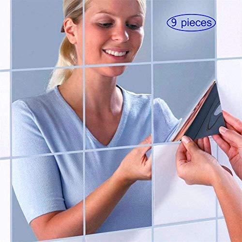 Deolven Spiegelfliesen Selbstklebend,9 Pack Acryl Wandspiegelg Spiegel Blatt Spiegelkachel Dekor Kunststoff Fliesenspiegel für Wohnzimmer Schlafzimmer Sofa TV Küche Badezimmern 15 * 15CM Silber