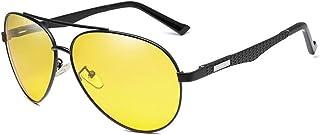 GR Men's New Brand Aluminum-Magnesium Night Vision Polarized Sunglasses Sunglasses for Night Driving Pilot Aolly UV400 (Color : Yellow)