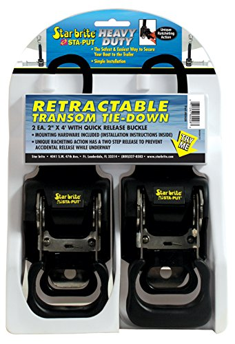 Star brite 060428 Heavy Duty Retractable Transom Tie-Down with Quick Release Buckle