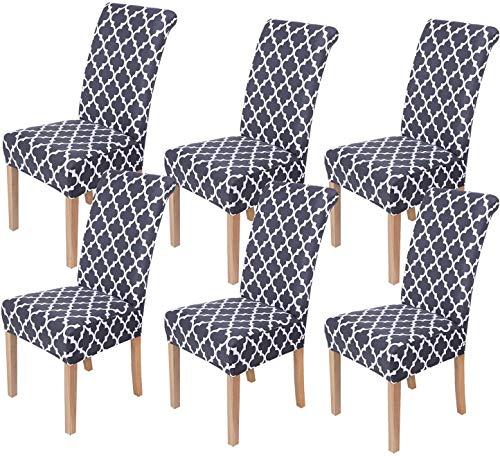 Homaxy Universal Stretch Stuhlhussen 2er 4er 6er Set Stuhlbezug für Stuhl Esszimmer (6er Set, Style 13)