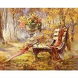 数字油絵 数字キット塗り絵 手塗り DIY絵 デジタル油絵 パークチェア 大人 子供と初心者 3ブラシホーム オフィス装飾 40 x 50 cm (フレームレス)