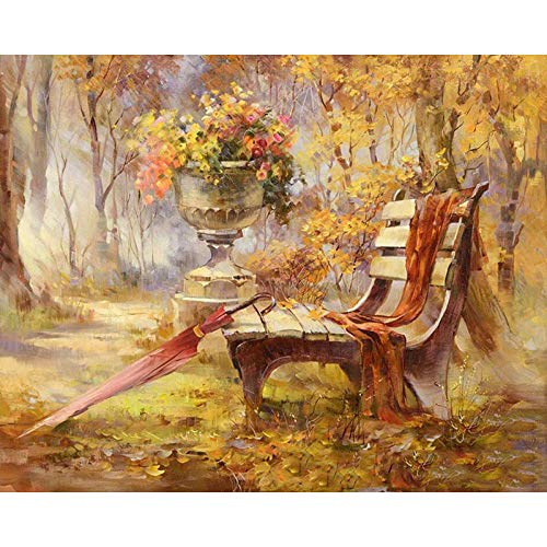 5D Diamond Painting Diamond Painting KitsDiamond Art for Adults and Kids Arts Craft Canvas for Home Wall Decor Landscape Chair 12x16 inches (Frameless)