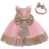 FYMNSI Vestido de niña para fiesta de cumpleaños o bautizo, con lazo y flores, con cinta para la frente, para princesa, boda, dama de honor, vestido de fiesta 2# Rosa 3-4 Años