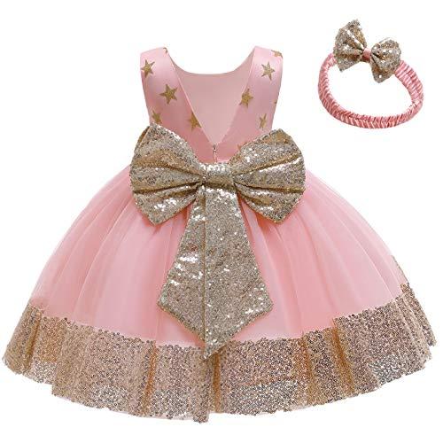FYMNSI Vestido de niña para fiesta de cumpleaños o bautizo, con lazo y flores, con cinta para la frente, para princesa, boda, dama de honor, vestido de fiesta 2# Rosa 12-18 Meses