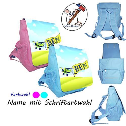 Flugzeug Kinderrucksack mit Name/Schriftartwahl/Kindergartenrucksack/Kindergarten/Kindergerechter Rucksack/Rucksack mit Name/Personalisierter Rucksack/Segelflieger/Flieger /