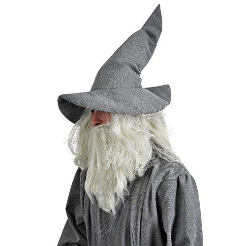 Grauer Zauberer Hut Magier Hexe Gandalf Kostüm Zubehör weich Einheitsgröße