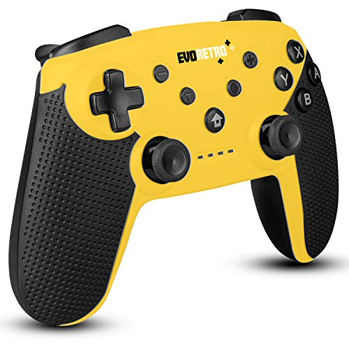 EVORETRO Wireless Bluetooth Nintendo Switch Pro Controller- Wireless Controller, PC Gamepad, Joypad Remote with Gyro Axis Turbo Buttons - (Yellow)