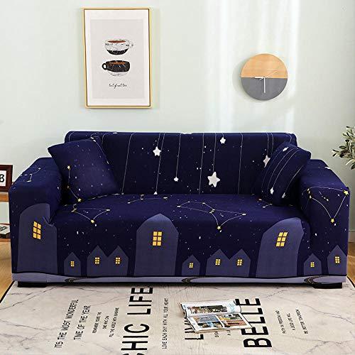 Funda de Sofá Elástica Funda Sofá Gruesa Antideslizante, Cubierta Sofa Muebles con Cuerda de Fijación Antideslizante Protector de Muebles (Noche Cielo Estrellado, 3 Plazas )