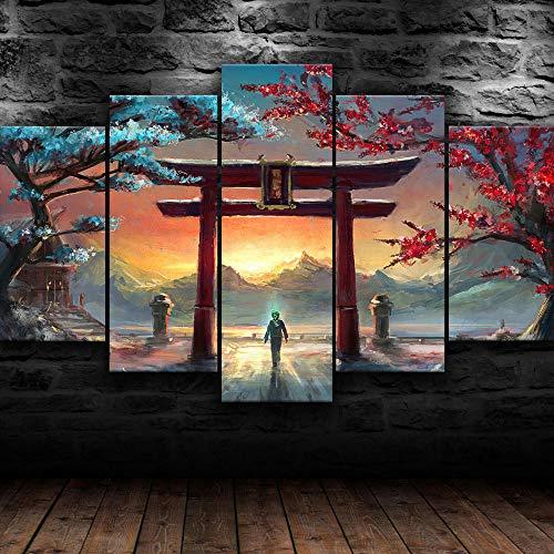GUANGMANG 5 Piezas Lienzo - Lienzo Japonés Torii Gate De 5 Piezas - Modernos Impresión En Lienzo De Pared Cuadros Murales Decoración Pared Salón Dormitorios 100 * 55Cm