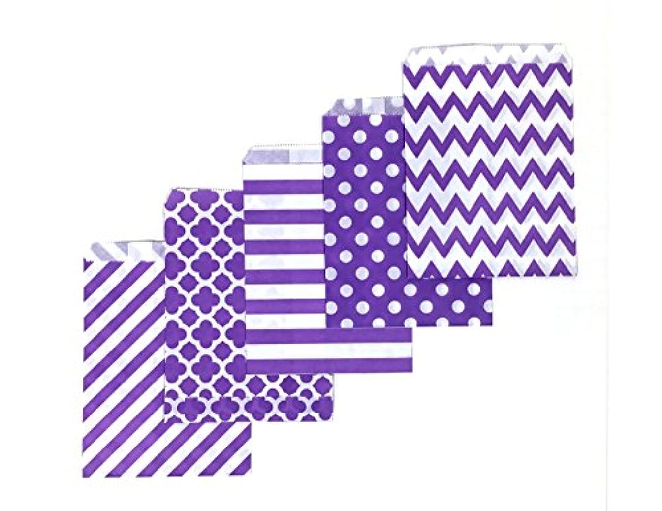 80 Counts Medium Purple Biodegradable, Food Safe Ink & Paper, Assorted 5 Designs Cookie Bag, Eco-friendly Favor Bag, Treat Bag for Party (Medium, Purple)