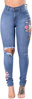 SEXYTOP Women Funky Skinny Jeans Collection High Mid Waisted Stretch Ripped Distressed Slim Fit Butt Lift Denim Pants