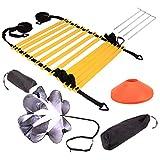 Kit Entrenamiento Velocidad y Agilidad de Fútbol, Escalera de Agilidad, Conos, Clavos Metálicos y Bolsa de Transporte para Fútbol, Fitness, Deportes
