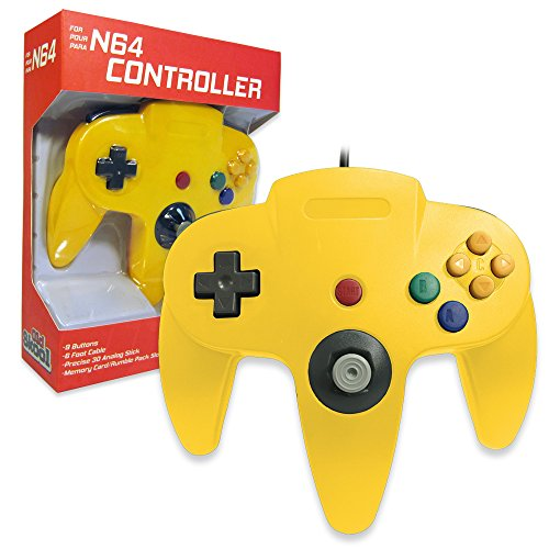 Old Skool Classic Wired Controller Joystick for Nintendo 64 N64 Game System - Yellow