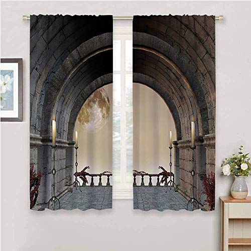 DIMICA Premium Blackout Curtains gothic decor middle age balcony of stone castle with candles renaissance inspired vintage design Print Soundproof Privacy Window Curtains grey W63 x L45 Inch