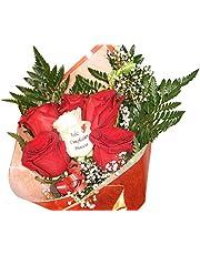 Ramo de rosas naturales a domicilio de seis rosas y una de ellas tatuada con un mensaje en el petalo