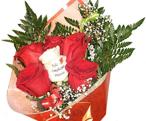 Ramo de rosas naturales a domicilio de seis rosas y una de ellas tatua