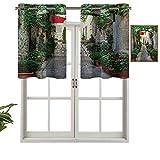 Hiiiman Cortinas con ojales para ventana, diseño de calle estrecha con flores, ciudad rural vinícola en las provincias del sur de Francia, 1 unidad, 106,7 x 45,7 cm para ventana de cocina