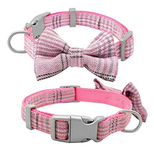 Halsband voor honden, roze halsband voor honden en hondenriemen schattig de Filter Bow Tie halsbanden met Pet Walking lijn voor kleine honden, maat All Seasons ademend zacht gevoerd licht, M