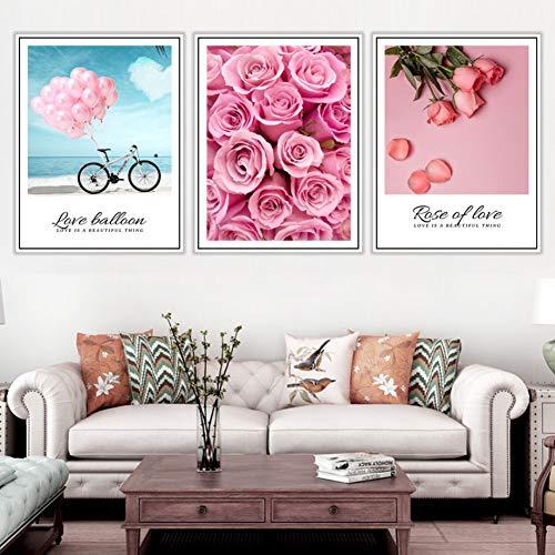 RHBNVR canvas schilderij ballon roos bloem liefde muurkunst 3 stuks canvas schilderij poster en afdrukken wandafbeeldingen voor slaapkamer wanddecoratie (zonder lijst)