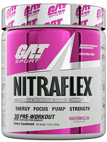 GAT Sport NITRAFLEX, Testosterone Boosting Powder, Increases Blood Flow, Boosts Strength and Energy, Improves Exercise Performance, Creatine-Free (Watermelon, 30 Servings)