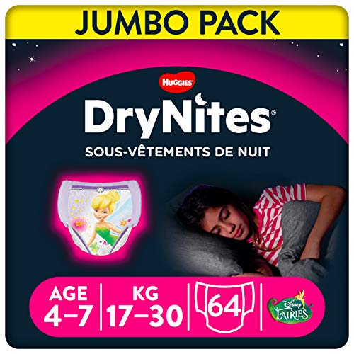 Huggies Drynites Sous-Vêtements de Nuit Absorbants Jetables pour Filles Taille : 4-7 ans, Les 64 culottes