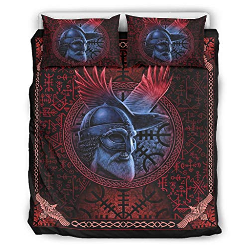 Cozy juego de funda de edredón Viking rojo Odin azul patrón 3 piezas hipoalergénico 1 funda de edredón + 2 fundas de almohada con cierre de cremallera, fácil cuidado individual blanco 228 x 228 cm