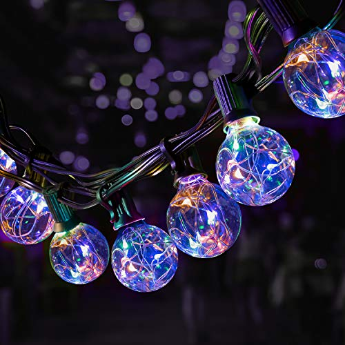 50ft Outdoor String Lights,OxyLED 45+5 LED Glass Bulbs Flash RGB Colorful Copper String Light,45+5 LED Garden Patio Outside String Lights,Fairy Decorative Lighs,Terrace Patio Christmas Festoon Lights