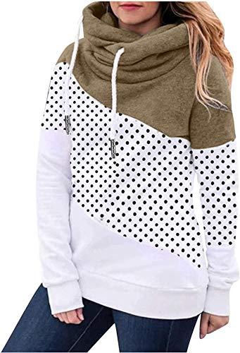 NDCATHE Women Polka Dot Printing Contrast Color Cowl Neck Long Sleeve Pullover Hoodie Tops Drawstring Sweatshirts