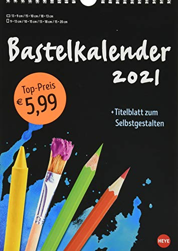 Bastelkalender 2021 schwarz A4 - mit Titelblatt zum Selbstgestalten und Monatskalendarium - Format 21 X 29,7 cm