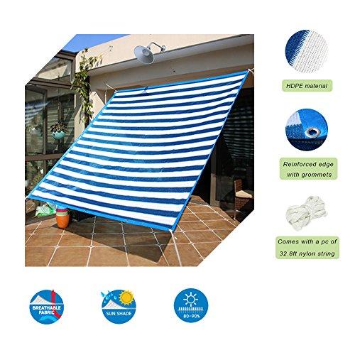 Insun Toldo contra el Sol y Rayos UV Vela de Sombra para Exterior Parasol Rectangula protección UV Azul y Blanco a Rayas 200 x 300 cm