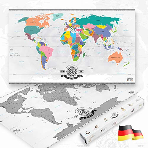 GOODS+GADGETS Scrape Off World Map Silber - XXL Weltkarte zum frei Rubbeln 82 x 45 cm - Rubbel Landkarte Deluxe Wandbild