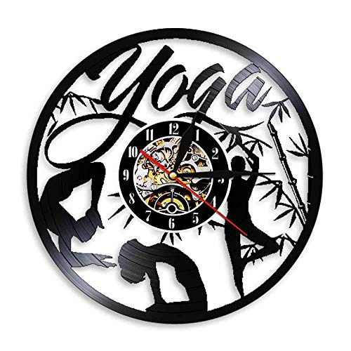 Relojes de Pared Yoga con Poste de bambú Disco de Vinilo Retro Pegatina Pared Modernos DIY de Adhesivo de Etiqueta de Decoración llenado Vacía 12 Pulgada(Sin Luces)