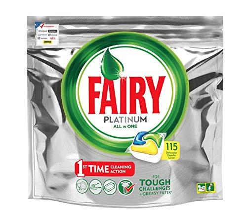 Pastillas de lavavajillas todo en uno Fairy Platinum (115 limón)