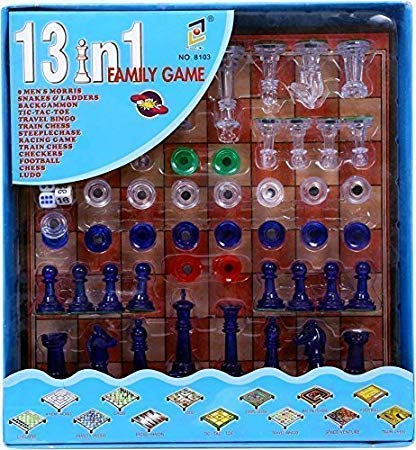 JABA'S® 13 in 1 Family Magnetic Board Game Including Chess, Snakes-Ladders, Backgammon, Ludo, Tic-Tac-Toe, Checkers, Travel Bingo, Football, Space Venture, Steeplechase Set Game For Girls,Boys And Adults