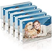 TWING Premium Acrylic Photo Frame - 4x6 inches Magnet Photo Frame -12 + 12MM Thickness Clear Picture Frame (4x6 5 Pack)