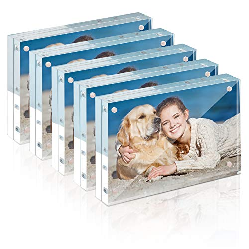 Picture Frame, TWING 4x6 Inch 5 Pack Acrylic Photo Frames Horizontal Magnet Double Sided Picture Frame Set with Microfiber Cloth,12 + 12MM Thickness Clear Picture Frame Desktop Display