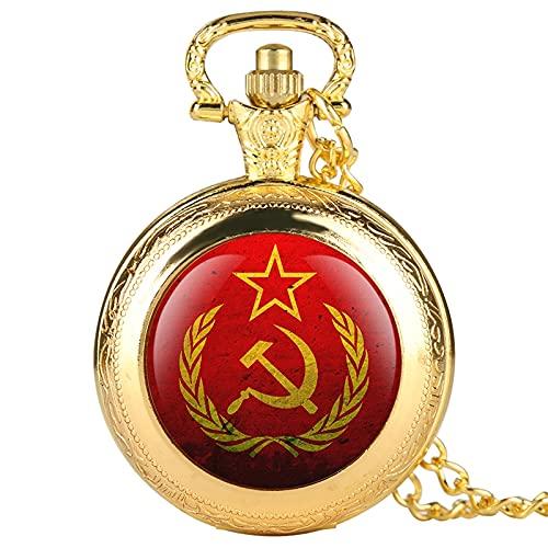Reloj De Bolsillo De Cuarzo - Emblema De Fiesta Insignias Soviéticas Martillo Hoz Reloj De Bolsillo De Cuarzo Ejército Ruso Comunismo Collar Cadena De Reloj Para Hombres Mujeres, Oro, Cadena Gru