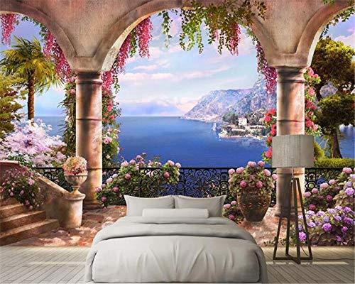 Cartel no tejido de gran tamaño personalizado papel tapiz de PVC foto arco de columna romana vista al mar 3d fondo del hogar decoración del dormitorio sala de estar 3d-400X280cm