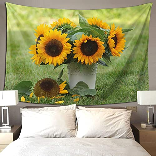 Verano Vibe Girasoles Verde Amarillo Decoración de la habitación Colorido Tapiz Para Dormitorio Estética Pared Tapiz 90*60 pulgadas Prioridad Envío