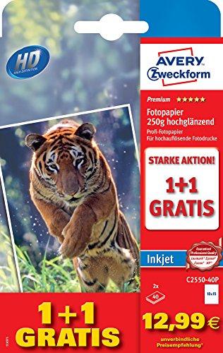 AVERY Zweckform C2550-40P Premium Inkjet Fotopapier, einseitig beschichtet - hochglänzend, 250 g/m², 10 x 15 mm, 80 Blatt