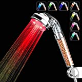 APzek Led Shower Head, High Pressure Handheld Shower Head with 7 Color Changing Lights Water Saving Filter Showerhead for Dry Skin and Hair