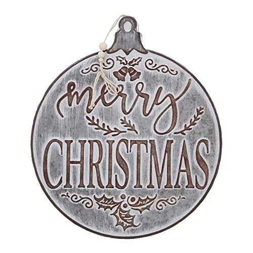 RAZ Imports Merry Christmas Ornament Galvanized Sign - 14.5 Inch