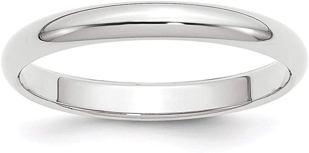 10 White Gold 3mm Half Round Wedding Ring Band Size 7 Classic Fashion Jewelry For Women Gifts For Her